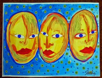 THREE FACES  - Original Acrylic Painting  - by Jon Stucky