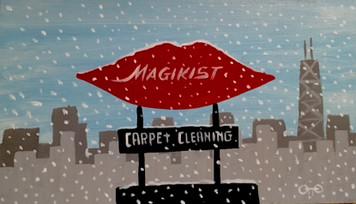 Chicago MAGIKIST SIGN in Snowstorm by Otto Schneider