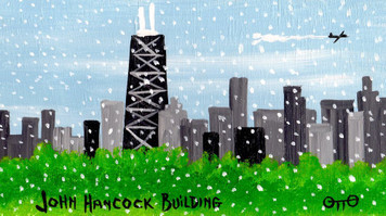 Chicago John Hancock Building in Snowstorm by Otto Schneider