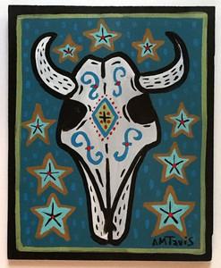 STEER SKULL PAINTING (Blue) by Anthony Tavis