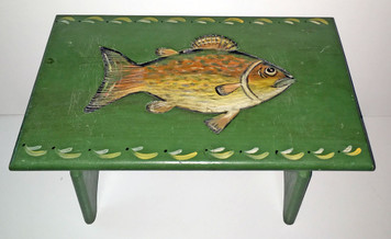 FISH DESIGN - Carved Stool by PA Dutch Craftsman