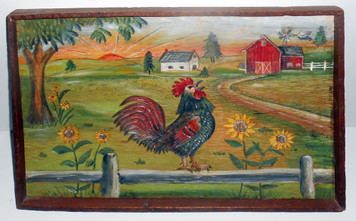CARVED ROOSTER and FARM SCENE by Anna Hoover - 17 yr old PA Dutch girl