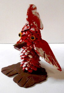 PINE CONE MUNCHKIN RED BIRD #1 by Rose Krinke