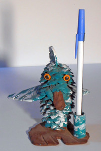 PINE CONE BIRD - Pen Holder by Rose Krinke