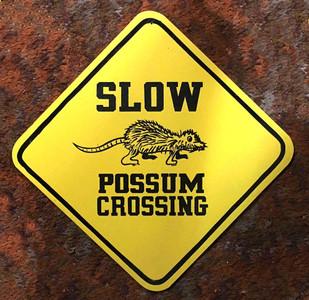 "POSSUM CROSSING ROAD SIGN - 16"" x 16"""