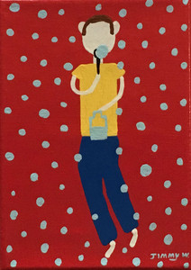 BOY BLOWING BUBBLES - on Canvas - by Jimmy W