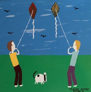 BOYS FLYING KITES by Jimmy W