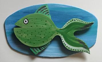 GREEN FISH #5 Mounted on Backboard by Steve Knight