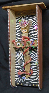Voodoo Alter style Wall Hanging - doll head - goth - cross - mirrors - beads by George Borum (Murob)
