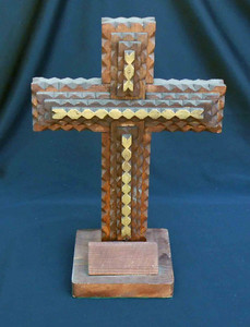Tramp Art Cross carved by Geo. G. Borum