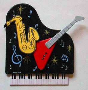 Piano - Sax - Guitar - Wall Plaque by George Borum