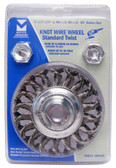 """4"""" dia x 1/2"""" x 5/8""""-11 x .020"""" Knotted Wire Wheel Stainless Steel"""