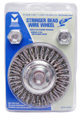 "4"" dia x 3/16"" x 5/8""-11 x .020"" Stringer Bead Wire Wheel Stainless Steel"