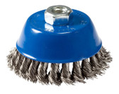 """4"""" dia x 5/8""""-11 x .020"""" Knotted Wire Cup Brush Stainless Steel"""