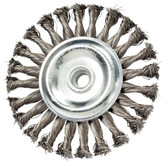 """6"""" dia x 1/2"""" x 5/8""""-11 x .020"""" Knotted Wire Wheel Carbon Steel"""