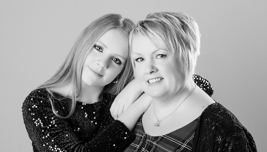 Mother and daughter makeover photograph in Black and white. Photograph taken by Emotion Studios.