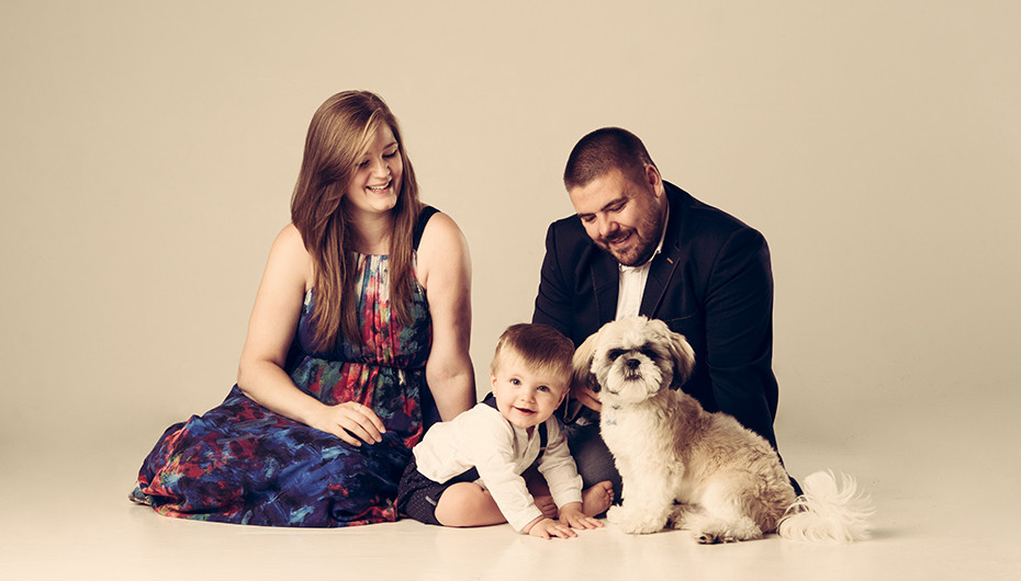 Fun family and pet photograph taken by Emotion Studios.
