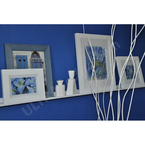 """Deep Picture Ledge: 5ft / 60in White Metal Picture Ledge, 3.5"""" Deep"""