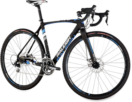Raleigh RXC Disc Shimano Di2 equipped Carbon Bicycle, White, Silver & Blue Accents - Build It Your Way