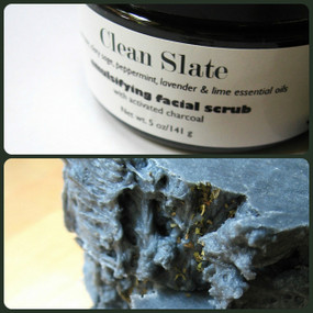 Clean Slate Facial Bar and Emulsifying Facial Scrub - Charcoal, Tea Tree, Clary Sage, Peppermint Essential Oils... Buy Both and Save