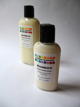 Blackbird Organic Hand and Body Lotion SAMPLE SIZE - Lavender, Dark Patchouli, Musk, Tonka... Revised Formula