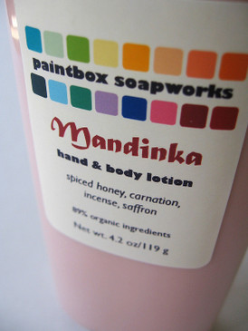 Mandinka Organic Hand and Body Lotion - Spiced Honey, Carnation, Incense, Saffron...