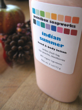 Indian Summer Organic Hand and Body Lotion - Amber, Fresh Hay, Ripe Peaches, Blackberries... Weenie Limited Edition