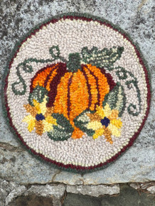 Punch hooked using wool rug yarn by Kathy Donovan, Bluemont, Virginia