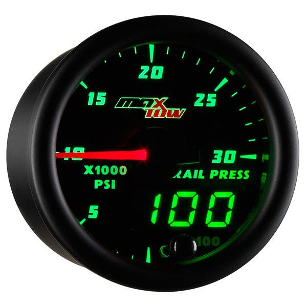 Black & Green MaxTow 30,000 PSI Fuel Rail Pressure Gauge