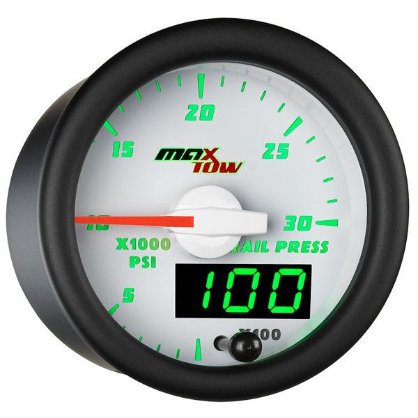 White & Green MaxTow 30,000 PSI Fuel Rail Pressure Gauge