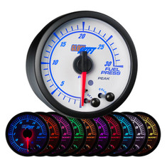 White Elite 10 Color 30 PSI Fuel Pressure Gauge