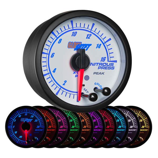 White Elite 10 Color 1600 PSI Nitrous Pressure Gauge