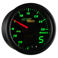 Black & Green MaxTow 30 PSI Boost/Vacuum Gauge