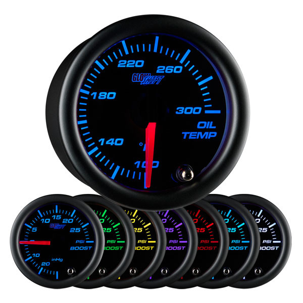 Black7_OilTemp_Main_1__35141.1491420039.600.600?c=2 glowshift black 7 color oil temp gauge with electronic 2007 Ford F-250 Wiring Diagram at fashall.co
