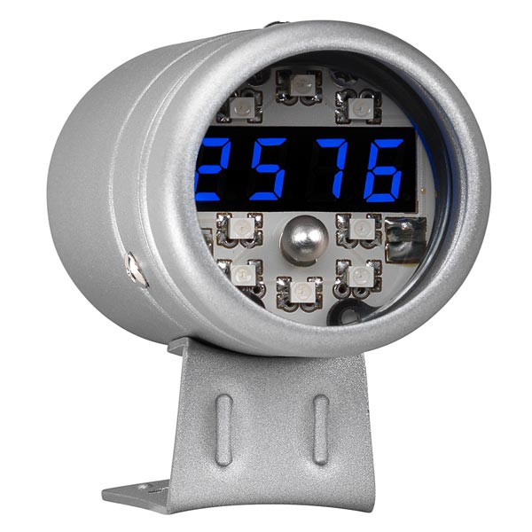 Silver Digital Tachometer & Blue LED Shift Light