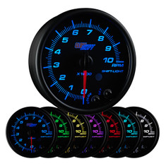 "Black 7 Color 3 3/4"" In Dash Tachometer Gauge"