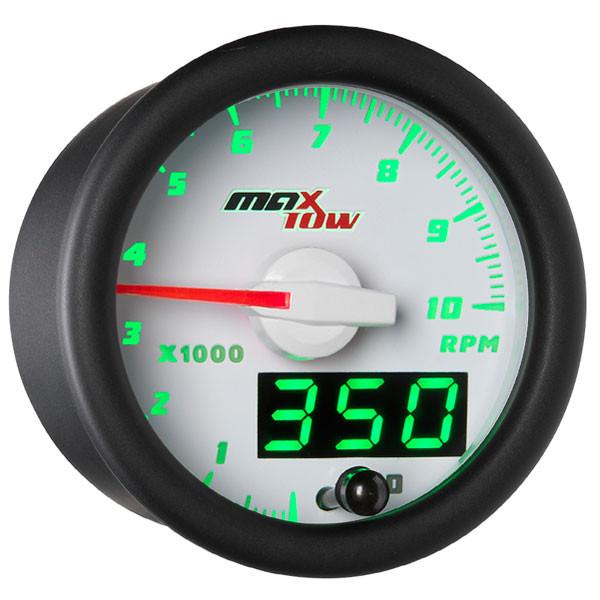 White & Green MaxTow Tachometer Gauge