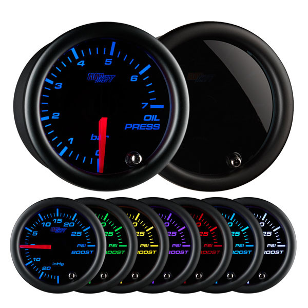 Tinted 7 Color BAR Oil Pressure Gauge