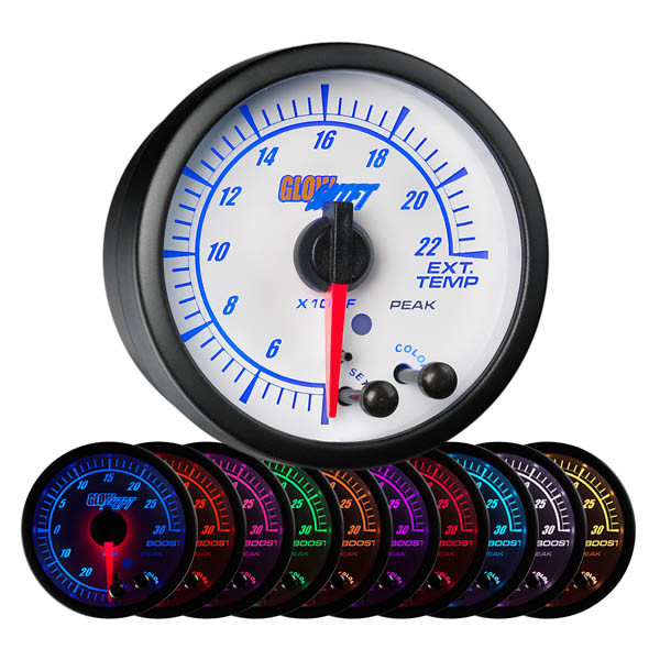 White Elite 10 Color 2200° F Exhaust Gas Temperature Gauge