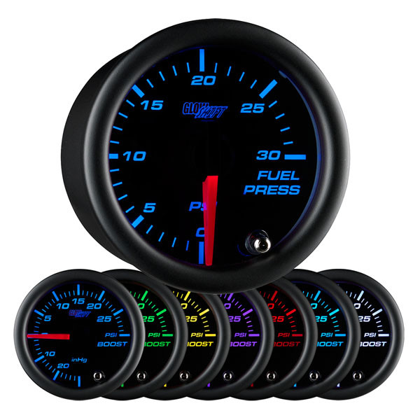 Black 7 Color 30 PSI Fuel Pressure Gauge