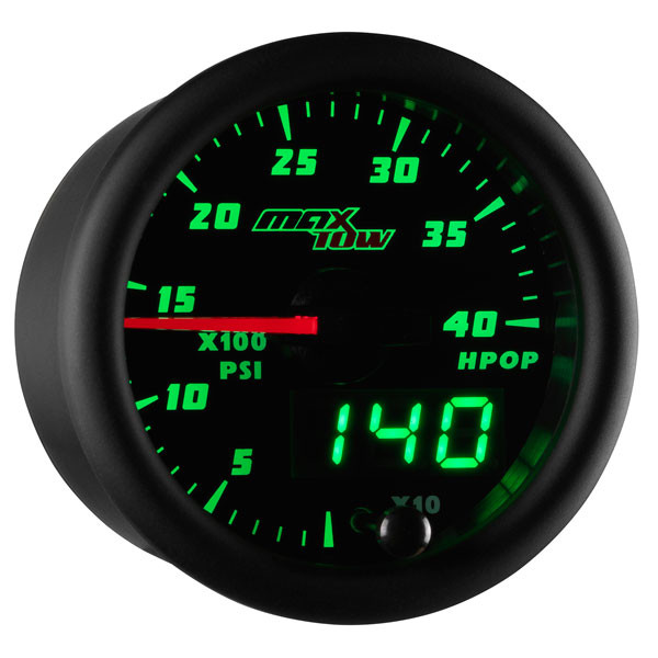 Black & Green MaxTow High Pressure Oil Pressure HPOP Gauge