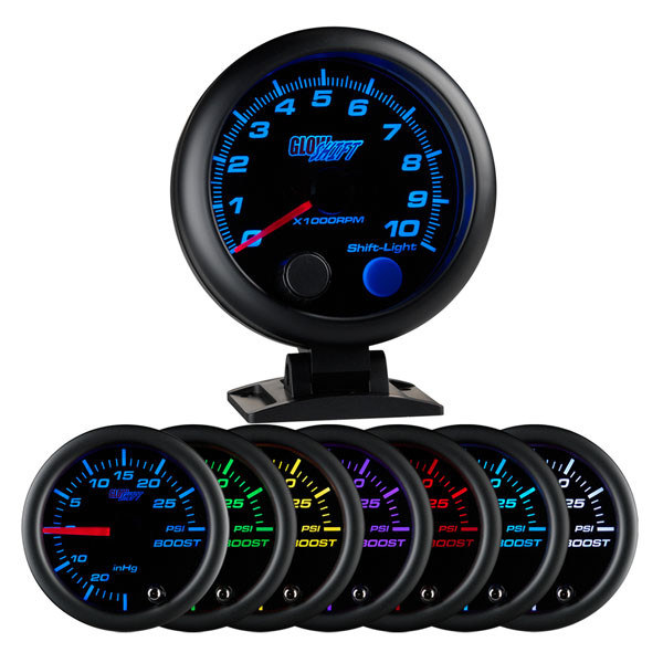 Glowshift black 7 color 3 tachometer wshift light black 7 color 3 34 tachometer w shift light sciox Choice Image