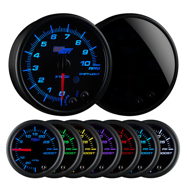 "Tinted 7 Color 3 3/4"" In Dash Tachometer Gauge"