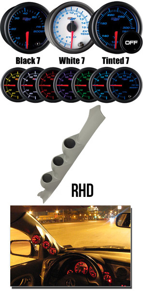 2002-2007 Subaru Impreza WRX RHD Custom 7 Color Gauge Package Main