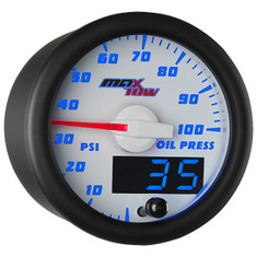 White & Blue MaxTow Oil Pressure Gauge