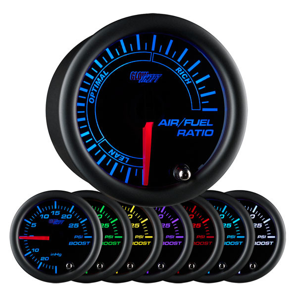 Black 7 Color Needle Air / Fuel Ratio Gauge