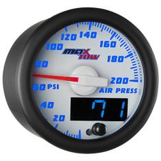 White & Blue MaxTow 200 PSI Air Pressure Gauge