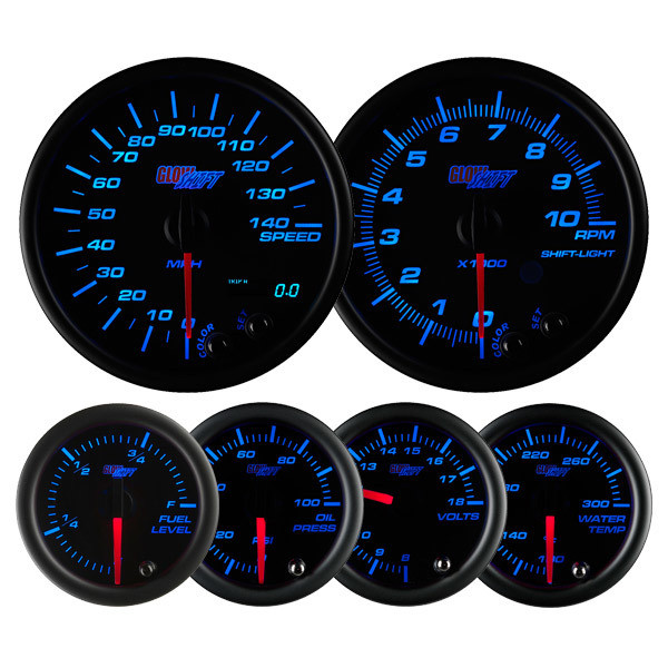 Black 7 Color Series Speedometer, Tachometer, Fuel Level, Oil Pressure, Volt, & Water Temperature Gauges