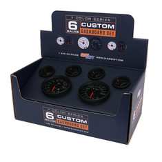 Black 7 Color Custom Dashboard Gauge Set Packaging