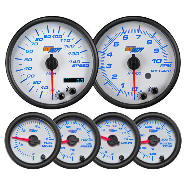 White 7 Color Series Speedometer, Tachometer, Fuel Level, Oil Pressure, Volt, & Water Temperature Gauges